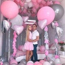 Latex Silber Rosa luftballons Aufblasbare latex Ballon Ball Baby Dusche 10 18 36 zoll Anordnung Hochzeit Dekoration mädchen geburtstag