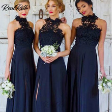 Real Rill Halter Side Split Bridesmaid Dresses 2019 Long Chiffon Sleeveless Lace Top Wedding Party Dress Maid Of Honor