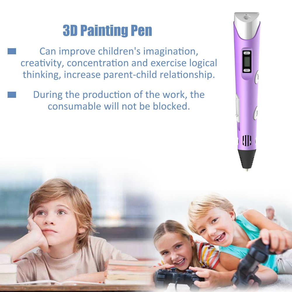 Bolígrafo 3D con pantalla Digital, bolígrafo con impresión 3D inteligente, bolígrafos con grafiti 3D de alta temperatura con Cable USB, juguete para regalo creativo
