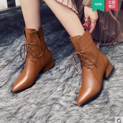 Lace-up Sexy Winter Ankle Boots Women High Heels Short Plush Pointed Toe Fashion Motorcycle Boots Dfv56