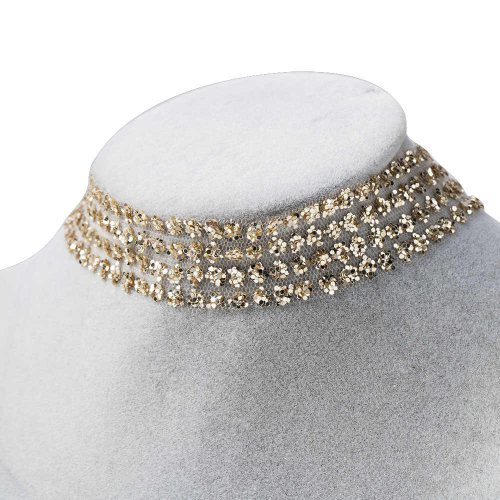 Fashion Women Fashion Jewelry Ladies Sexy Neck Collars Shiny Sequins Invisible Clavicle Chain Girls Bar Punk Gothic Choker