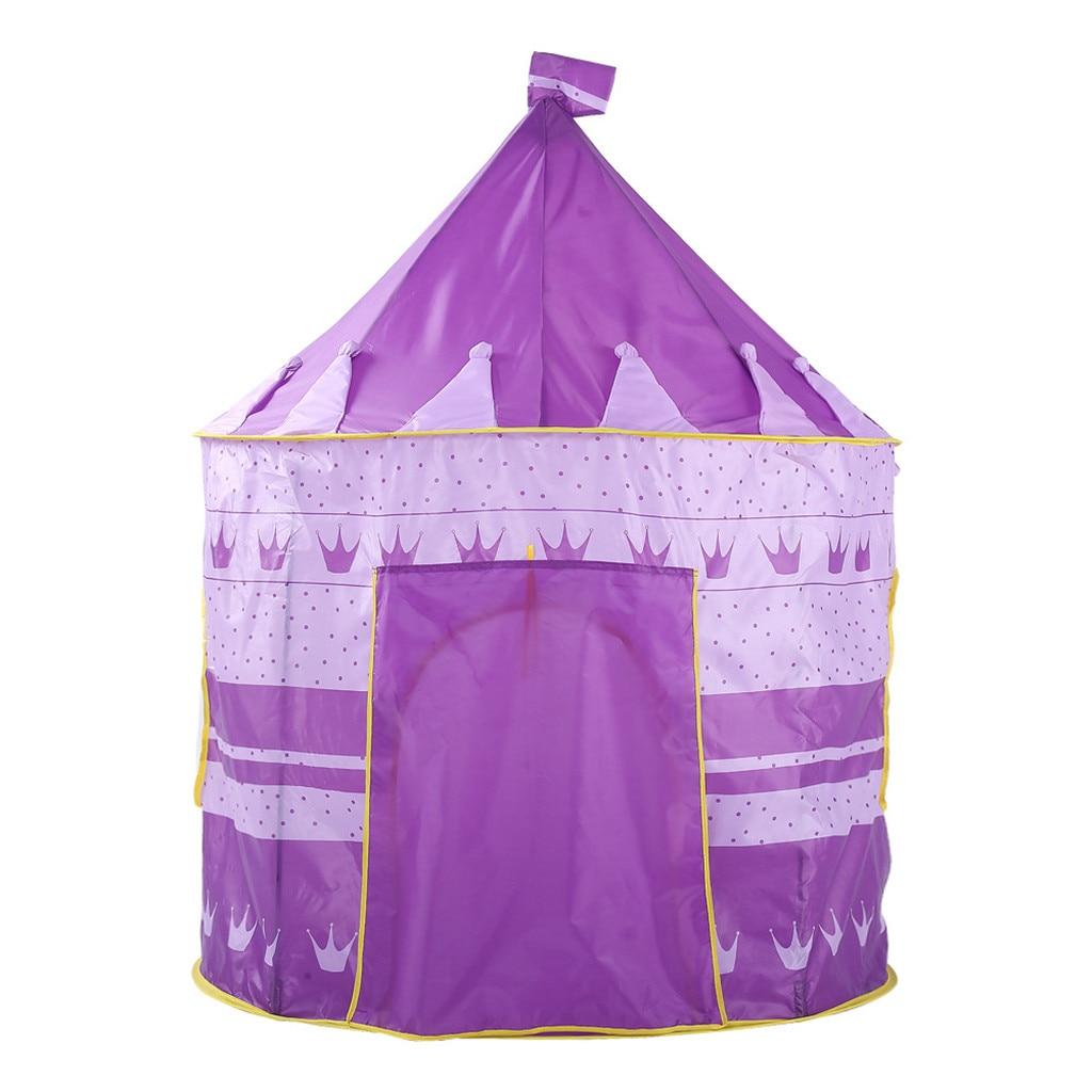 Tente pliante pour enfants, maison de jeu, château, couronne violette, Tunnel, extérieur