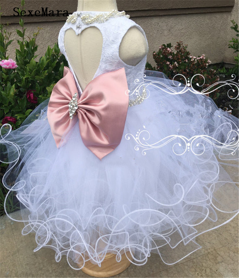 Beaded crystal rhinestone lace White   flower     girl     dresses   with Bow tiered ball gown birthday baby christening baptism   dress