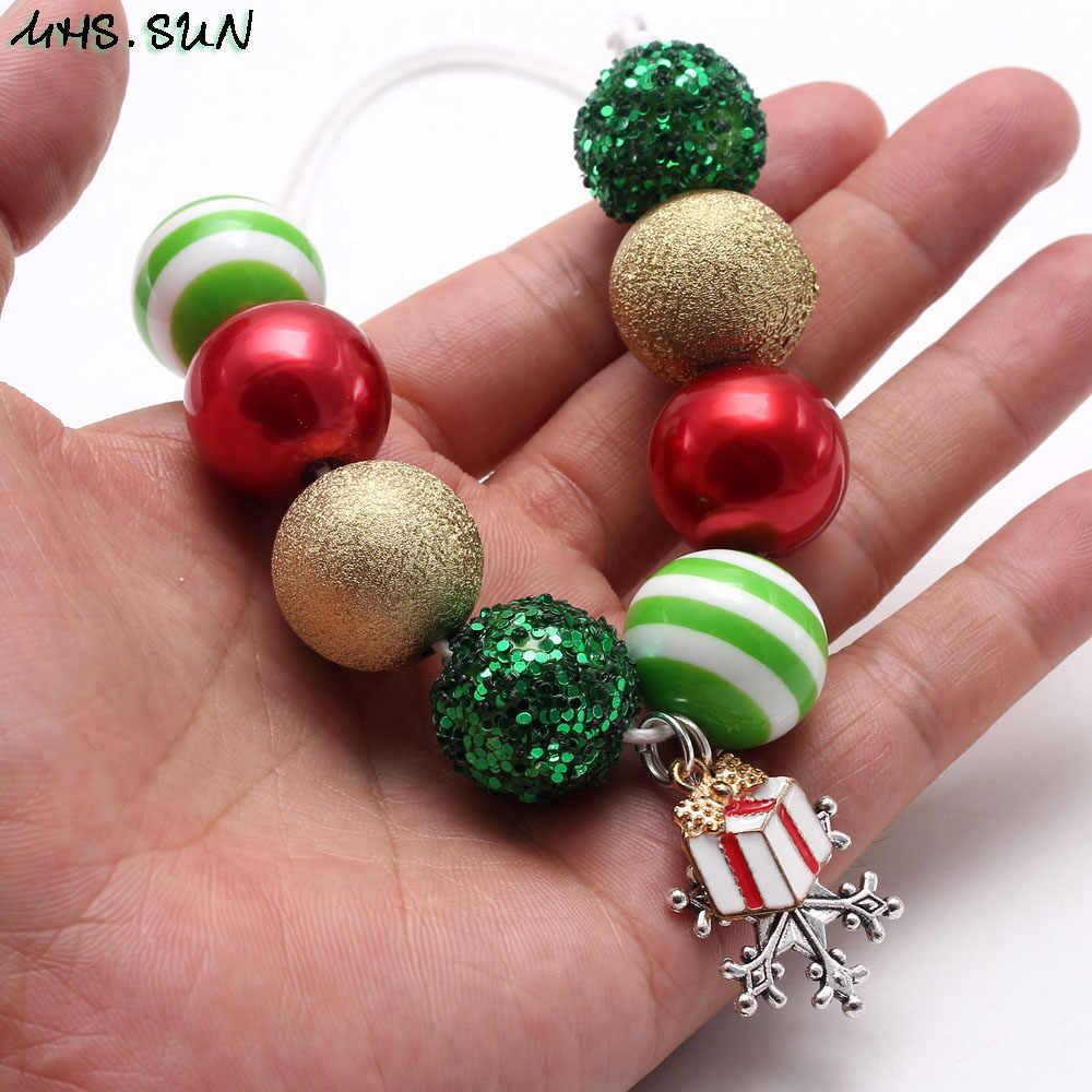 MHS.SUN Christmas Jewelry Set Girls Adjustable Rope Necklace Kids Child Beads Necklace Bracelet With Snowfake Gift Pendants New