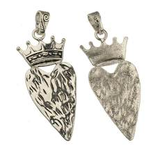 pendants for men women diy necklaces rope big heart crown silver fashion retro jewelery components suspension supplier 92mm 2pcs(China)