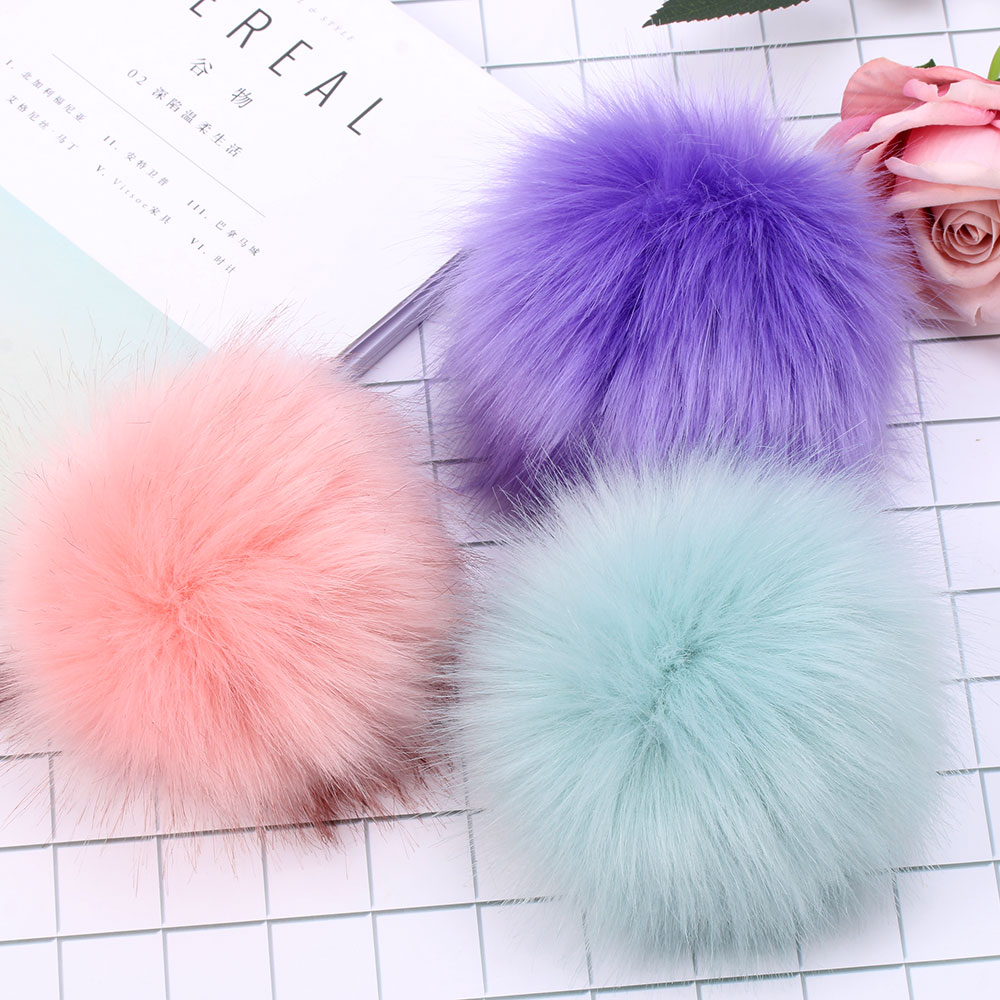 Pompom Foxes-Fur Colorful Natural Hats-Caps Big for Women 15cm Knitted