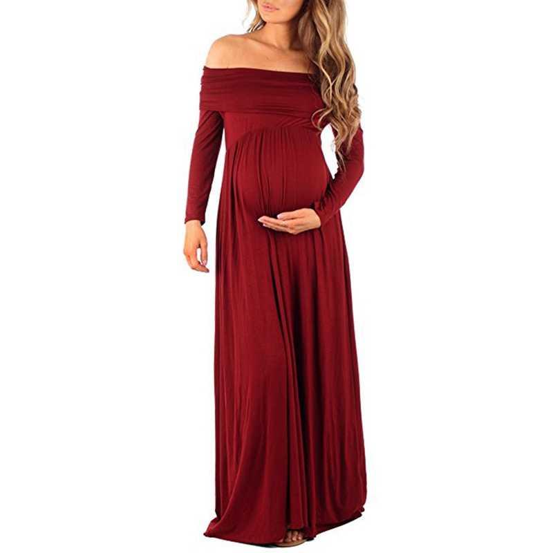 Vestido De Maternidad Accesorios De Fotografía Vestidos De Hombro Vestido De Embarazada Rojo M
