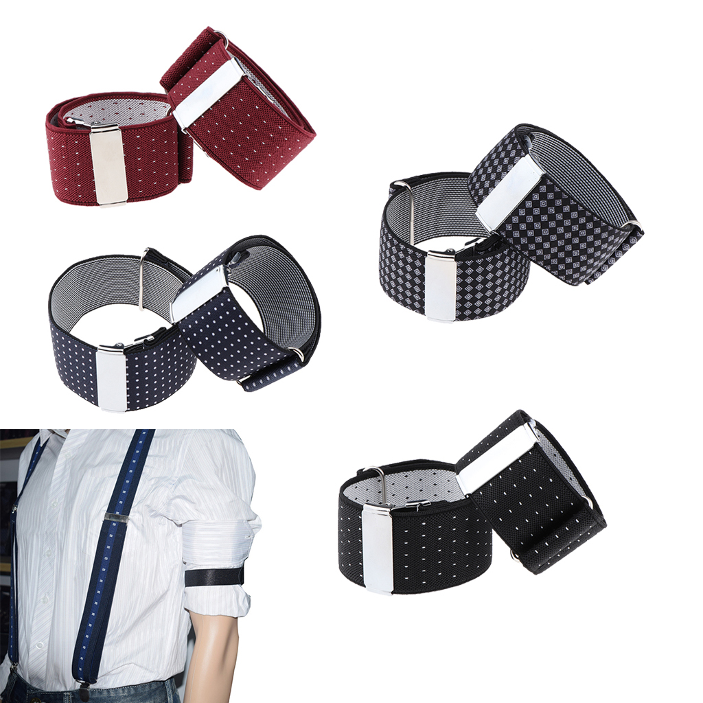 Mens Shirt Adjustable Armband Sleeve Garter Bartender Cuff Holder Sleeve Print Armband Elastic Cuff Holder Strong Metal Clip