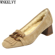 Pumps High-Heels Women Loafers Chain-Decor Single-Shoes Crystal Chunky Suede Retro Female