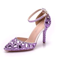 HOT sale fashion Women Shoes Pumps Hollow Buckle purple Rhinestone Pointed Toe Thin Heels 9CM Wonen Pumps Fashion Office Shoes