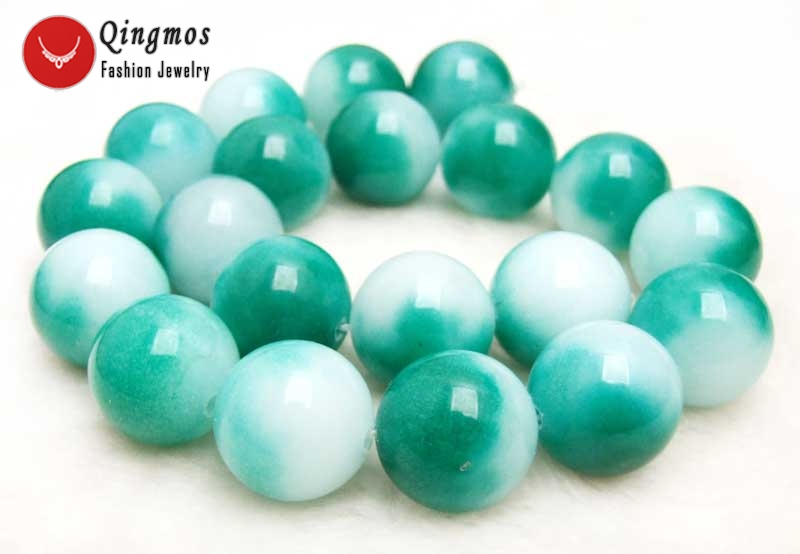 Qingmos 18mm Light Green Round Natural Jades Stone Beads for Beadwork DIY Necklace Bracelet Pendant Earring Loose Strand 15''