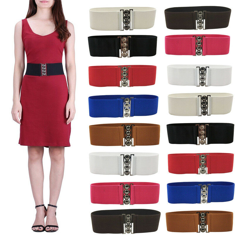 Womens Fashion Elastic Cinch Belt 4 Wide Stretch Waist Band Clasp Buckle Elastic Waistband