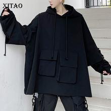 XITAO – sweat à capuche plissé noir pour femme, tricot avec cordon de serrage, poches élégantes, nouvelle collection printemps automne 2021, ZY3987