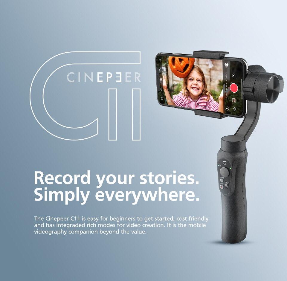 Cinepeer c11 estabilizador cardan handheld de 3 eixos para iniciante