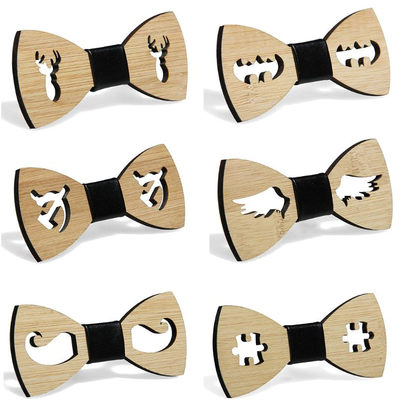 Handmade Bamboo Wooden Bow Tie Men Boys Party Hollow Butterfly Bowknot Faux Leather Knot Adjustable Classic Wedding Accessory