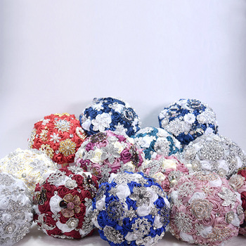 12 Colors New Bridal Bouquet Champagne Handmade Rose Flowers Bouquet Rhinestone Holding Flowers Wedding Bouquet Accessories
