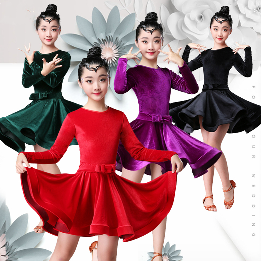 8Colors Children's Day Latin Dance Dress Kids Dresses For Girls Cha Cha Rumba Samba Jive Vestidos Dance Costume Ballrom Dancing
