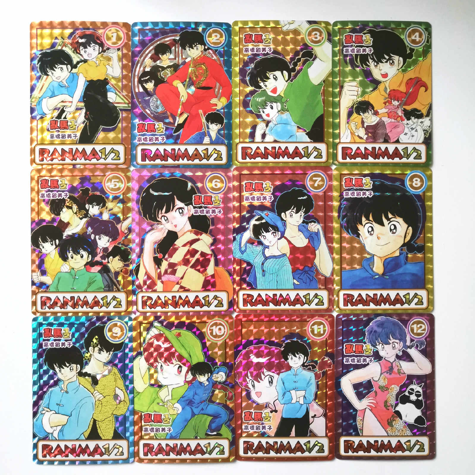 12 stks/set Ranma 1/2 Imitatie volledige versie oys Hobby Hobby Collectibles Game Collection Anime Kaarten