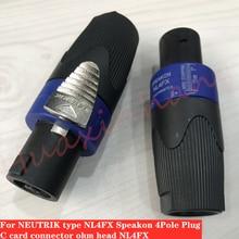 15Pcs/Lot For Neutrik NL4FX four core audio plug 4 core professional speaker amplifier speaker cable c card connector ohm head