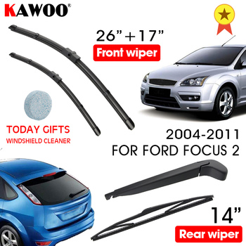 KAWOO Car Wiper Blade Windscreen Front Rear Wipers For Ford Focus 2 Hatchback, 2004-2011 year Auto Accessories Styling