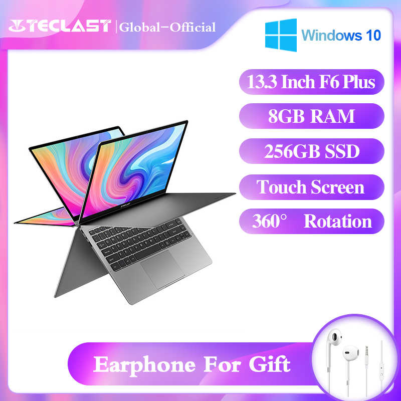 أحدث لابتوب من Teclast نوت بوك F6 Plus مقاس 13.3 بوصات 1920 × 1080 IPS Gemini Lake N4100 Windows10 8 جيجابايت LPDDR4 256 جيجابايت SSD 360 درجة دوران باللمس