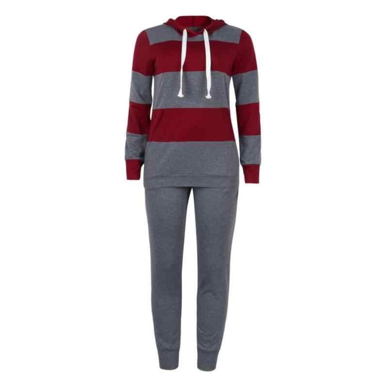 2019 女性の冬の女性のセットトラックスーツフルスリーブ Hoodied スウェットシャツポケットパンツスーツ 2 点セット衣装運動着
