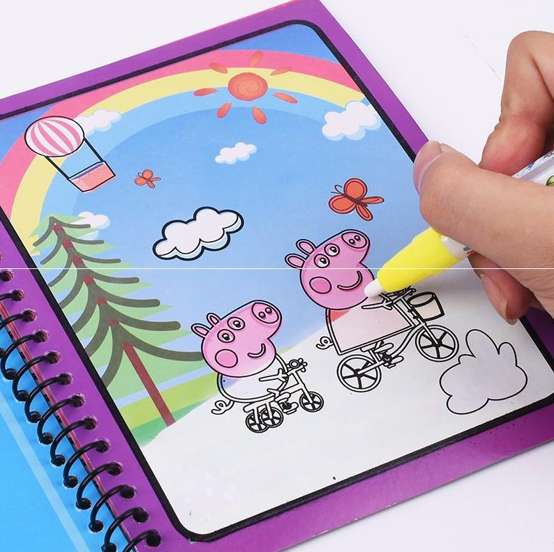 Children Magic Water Coloring Book Educational Learning Painting Toy Peppa Pig Drawing Toy Water Color Book For Boy Girl Gifts