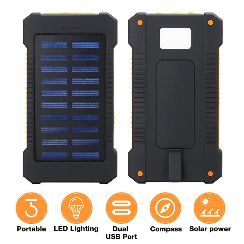 Top 30000mah Solar Power Bank Waterproof Solar Charger 2 Dual Usb Port Travel External Charger SUN Powerbank Compasses LED Light