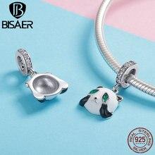 цена на BISAER 925 Sterling Silver White and Black Enamel Panda Animal Pendant Charm for Original 925 Snake Bracelet Bangle HSC1096