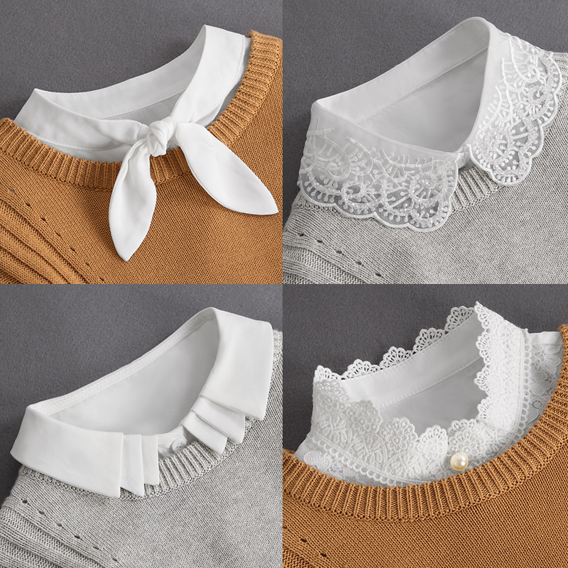 Front Tie White Fake Collar Stand Beads Detachable Collar Fake Women Vintage Crystal Lace Ladies False Blouse Collar Half Shirt