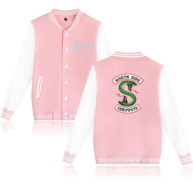 Logo impreso Southside Riverdale Serpents rosa/Negro chaquetas de béisbol hombres/mujeres Riverdale Serpents Streetwear abrigo