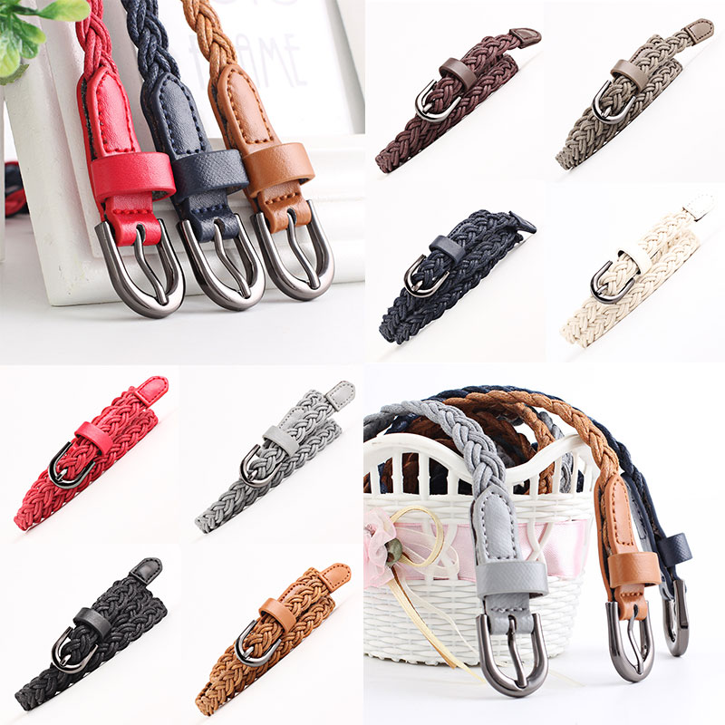 Skinny Waistband Thin Narrow PU Knitted Wax Rope Buckle Strap Waist Belt for Dress Fashion Waistband
