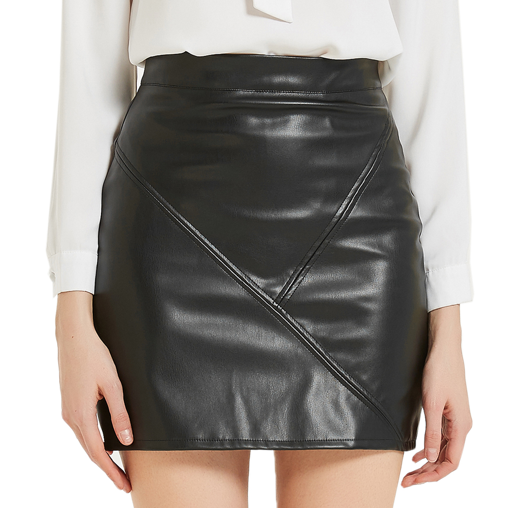 2020 Women Faux Leather A-line Skirt High Waisted Bodycon Stretchy Zipper Closure Solid Color Mini