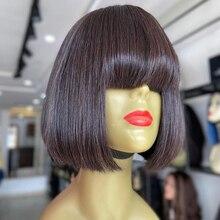 Perruques Bob péruviennes Remy à frange, perruques naturelles, lisses, colorées, blondes, brunes, faites à la Machine, courtes