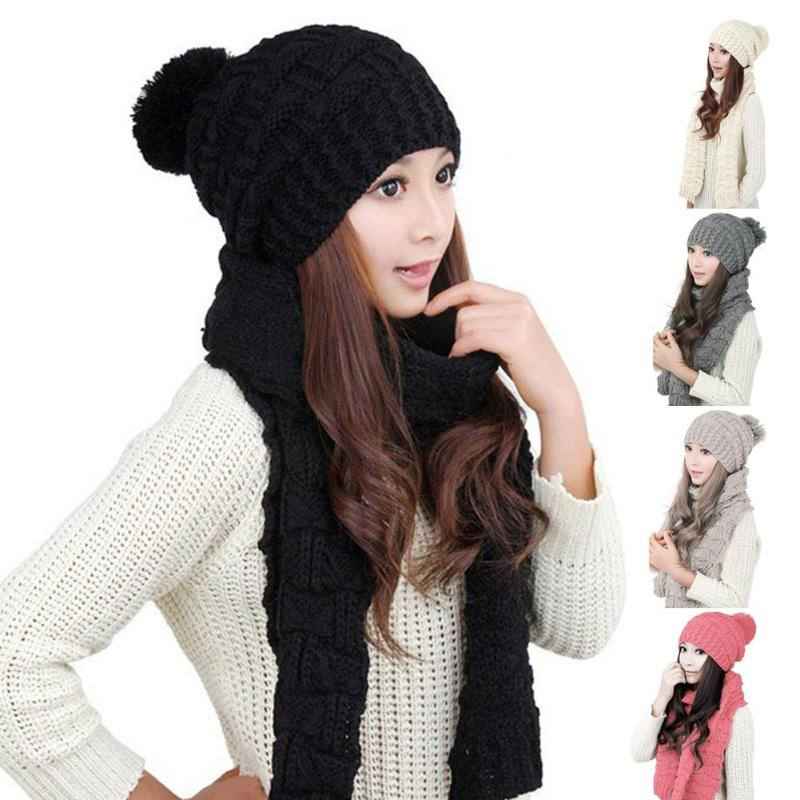 Solid Color Knitting Caps Women Autumn Winter Warm Thicken Scarf Wrap Hat Set Soft Warm Knitted Cap Knitting Skullcaps