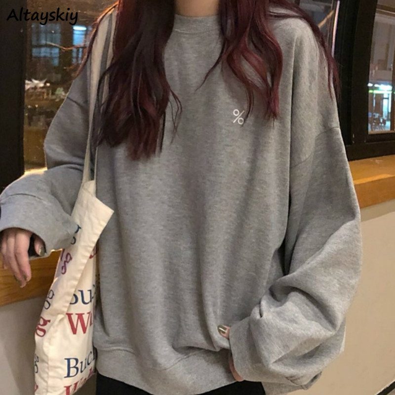 Hoodies Women Loose Printed Long Sleeve Pullovers Sweatshirts Casual O-Neck Korean Chic BF Leisure Streetwear Womens New Comfort