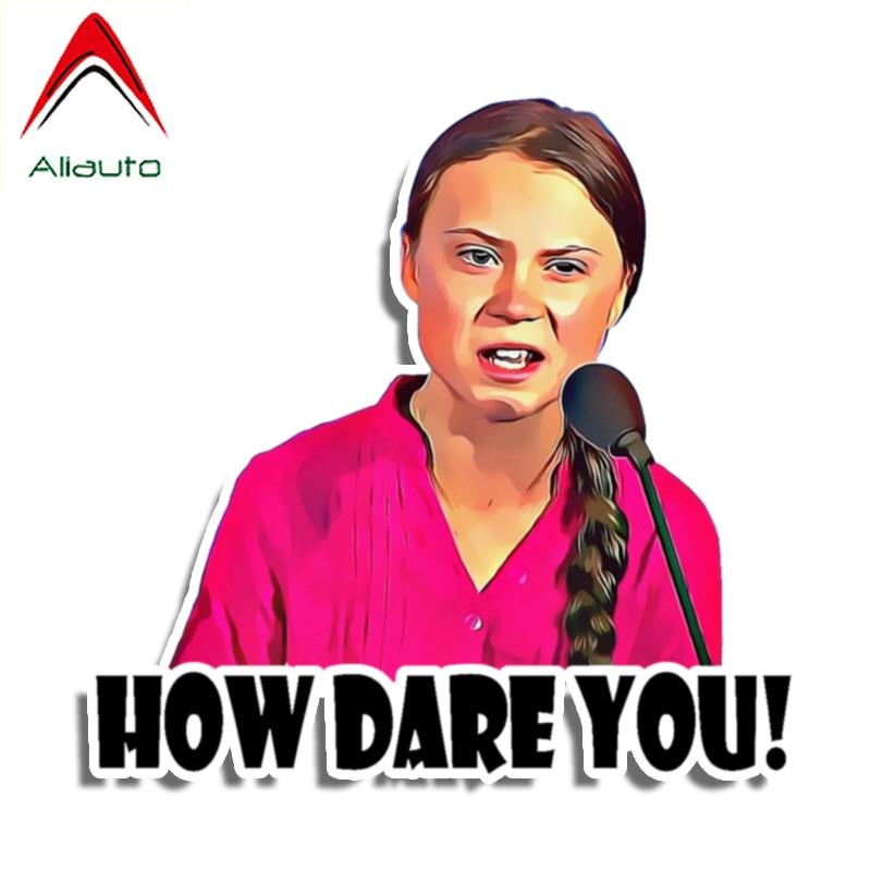 Aliauto Funny Car Sticker How Dare You! Greta Thunberg Vinyl Decal Laptop Car Sticker Waterproof Sunscreen Anti-UV,13cm*13cm