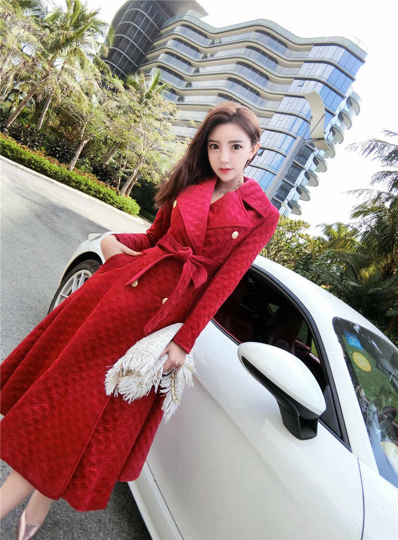 2019 Autumn Winter Burgundy Velvet Long Overcoat Women's Notched Collar Outwear Vintage Thick Maxi Trench Coat R131