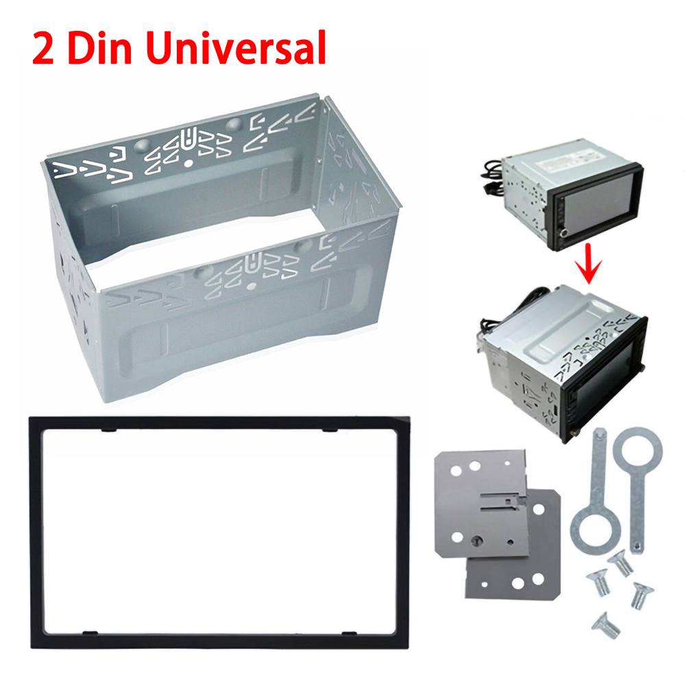 Unit 2 DIN Cage Radio Vehicle Case Car Fitting DVD Player Frame Mounting Plate Iron Frame Plastic Panel with Hardware Accessory