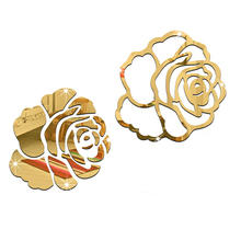 Roses Combination 3D Mirror Wall Stickers Home Decoration bedroom kitchen living room DIY decor (Gold)