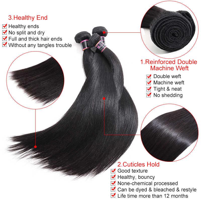 Mechones de pelo humano brasileño que rebota mechones de pelo liso con cierre de Color Natural cabello Remy tejido 3 mechones con cierre de encaje