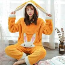 Зима 2020 милый кролик девушка стиль дома kawaii пижамный комплект