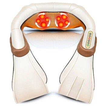 Masajeador eléctrico Shiatsu para el cuidado de la salud, rodillo de masaje para la espalda y el cuerpo, relajante para el coche