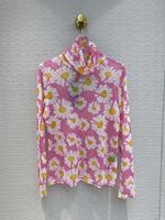 2020 prairie chic turtleneck long sleeve flower printing women blouse