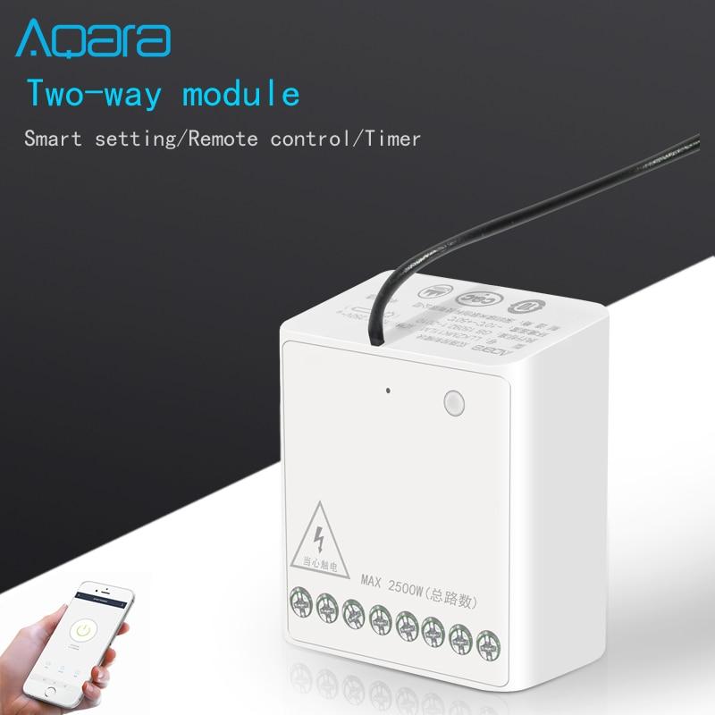 Original Xiaomi Aqara Wireless Relay Module Two-way Control Double Channels Switch Controller Smart Light For Mi Home App