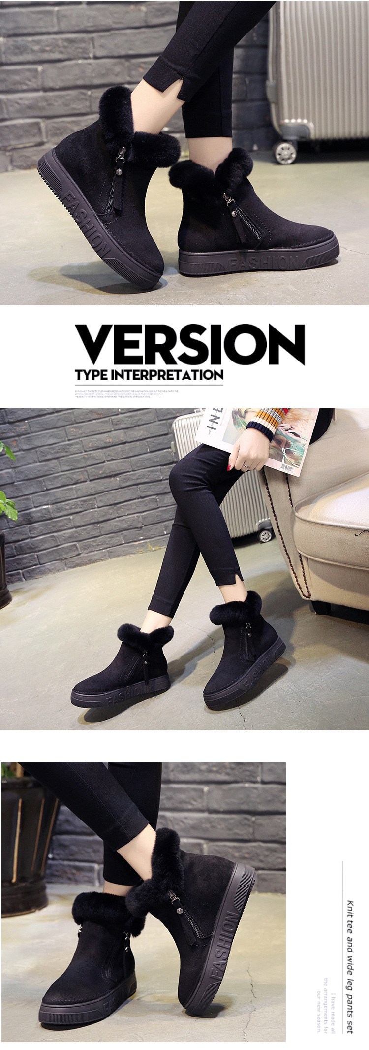 Women Short Ankle Boots Winter Plush Warm Thick Bottom Platform Round Toe Students Leisure Flat Ankle Snow Boots Botas Mujer 50