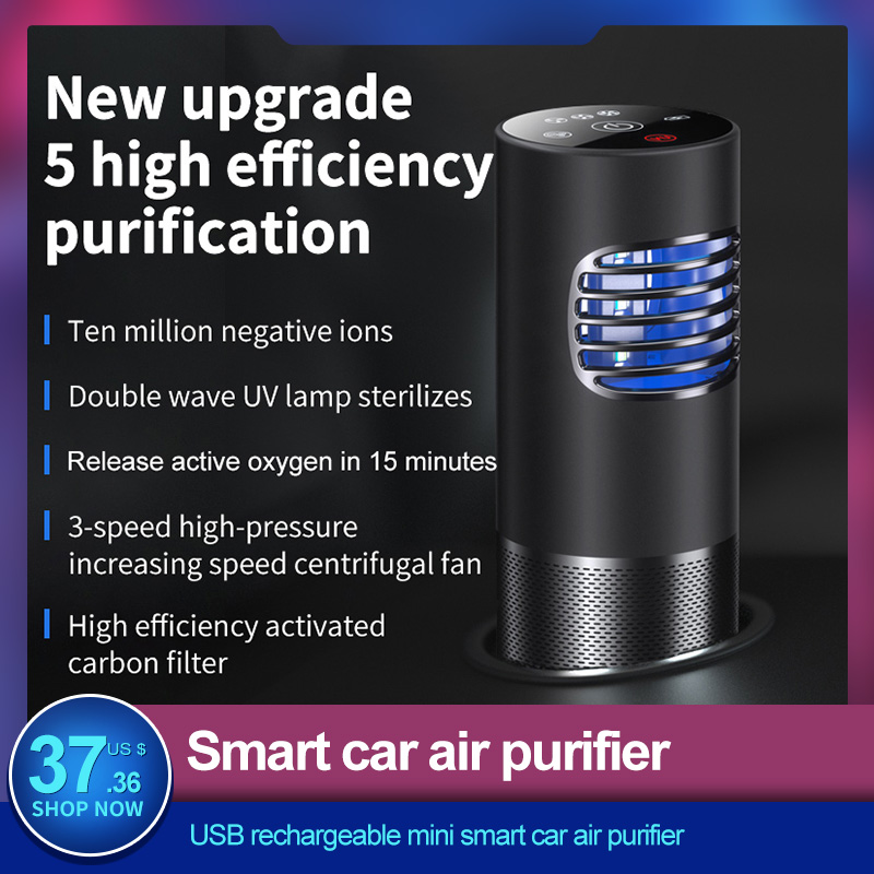 USB Rechargeable Mini Smart Car Air Purifier Remove Formaldehyde Negative Ions HEPA Filters UV Lamp Air Cleaner for Car Home