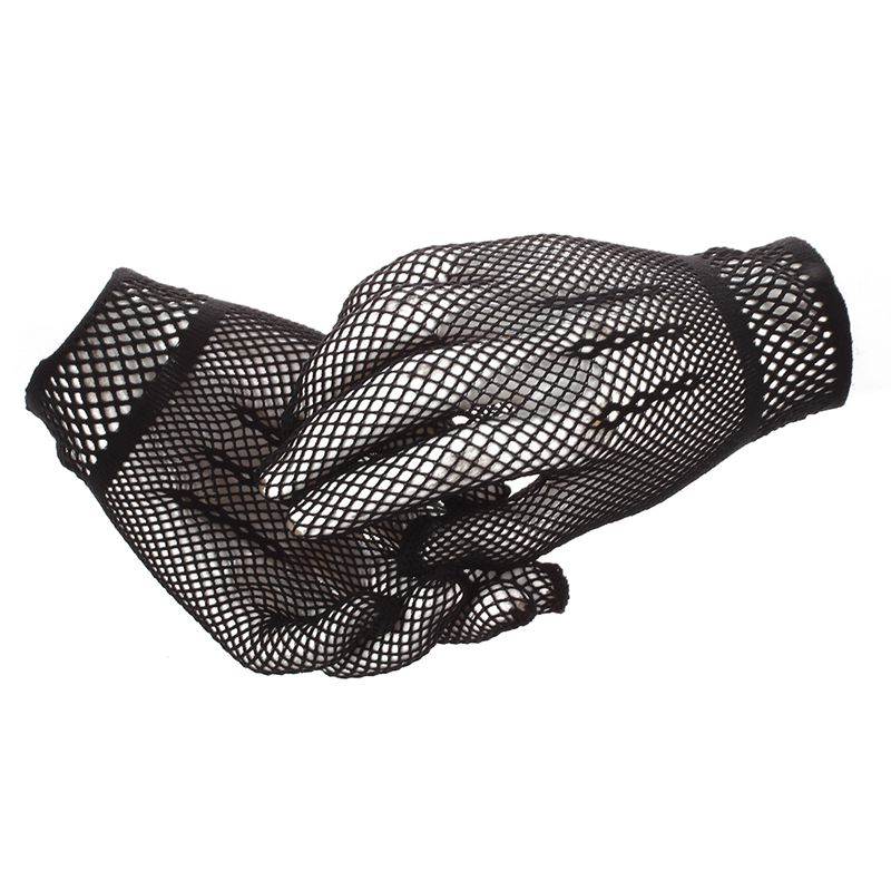 Pair Of Womens Elastic Wrist Fishnet Style Finger Gloves Black
