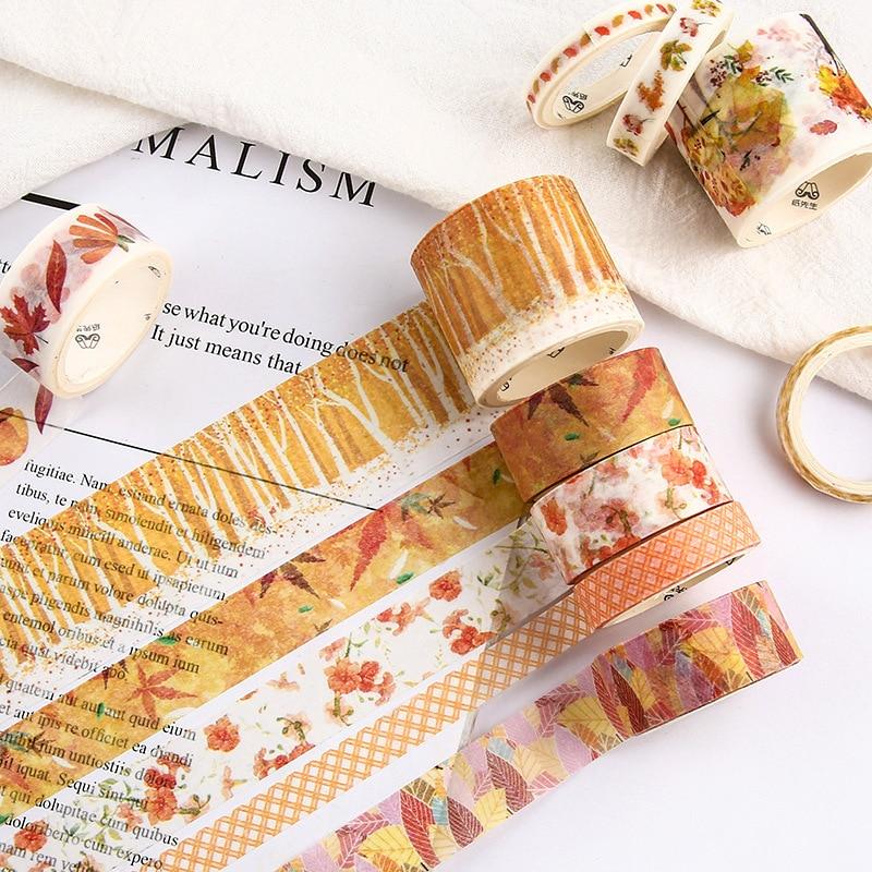 10Pcs/Set Cute Plant Leaves Washi Tape Kawaii Flower Masking Tape Whale Decorative Tape For Sticker Scrapbooking DIY Photo Album 5