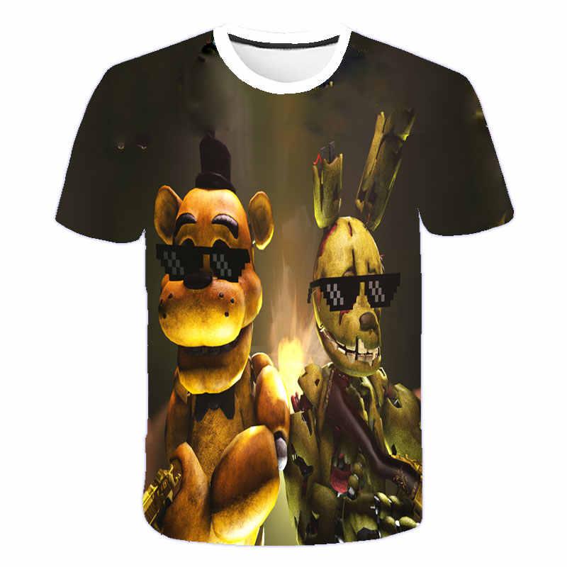 3D Kartun Anak Lengan Pendek T Shirt Anak-anak 3d Fnaf Lima Malam Di Freddy Anak Laki-laki Pakaian Gadis T-shirt Musim Panas Anak-anak tee Atasan